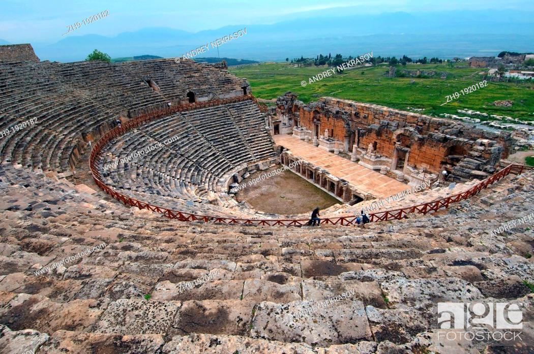 Stock Photo: Theater, Antique city of Hierapolis, Pamukkale, Turkey, Western Asia.