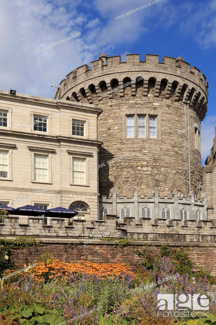 Stock Photo: Dublin, Republic of Ireland, Eire, Europe  The 13th century Record Tower the only remaining part of original medieval Norman castle is now the Garda museum.