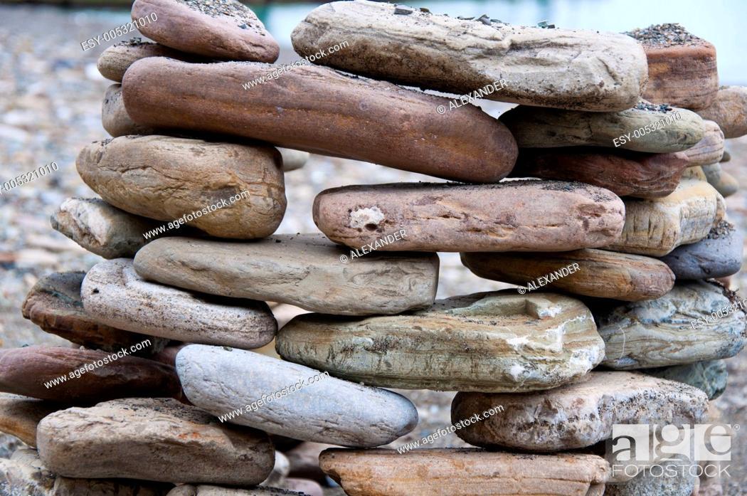 Stock Photo: stone on sea shore closeup.
