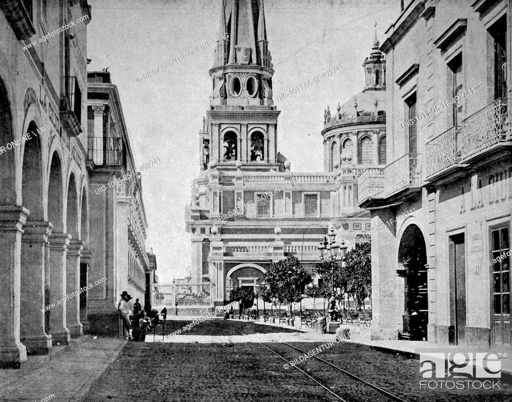 Stock Photo: One of the first autotype photographs of the cathedrale of guadalajara, mexico.
