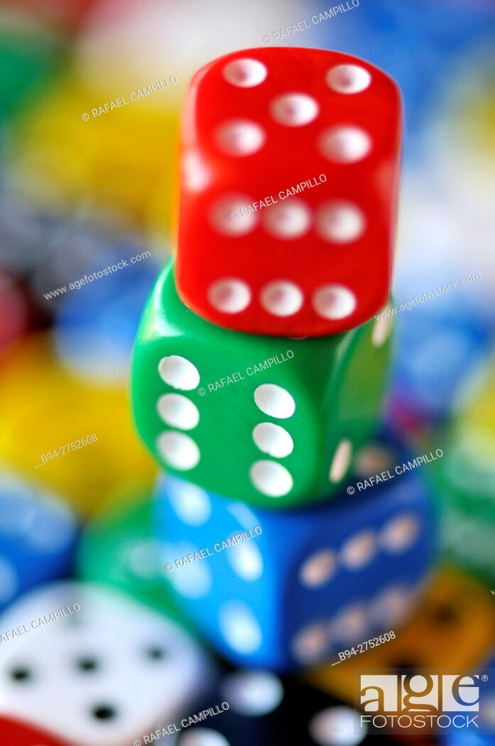 Stock Photo: Colored dices.