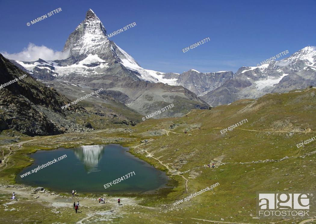 Stock Photo: Matterhorn - Riffelsee.