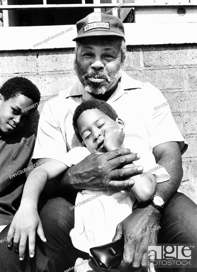 Stock Photo: Former middleweight champion Archie Moore at his 'ABC' club in San Diego California. Nov. 20, 1969. Affiliated with the Boy Scouts of America.