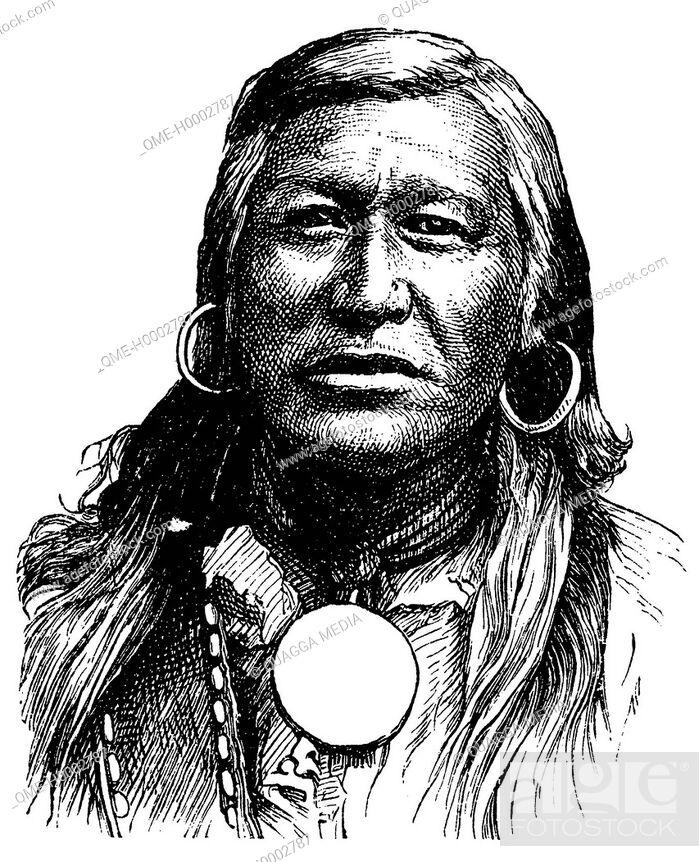 Stock Photo: Portrait of a Shoshone of America.