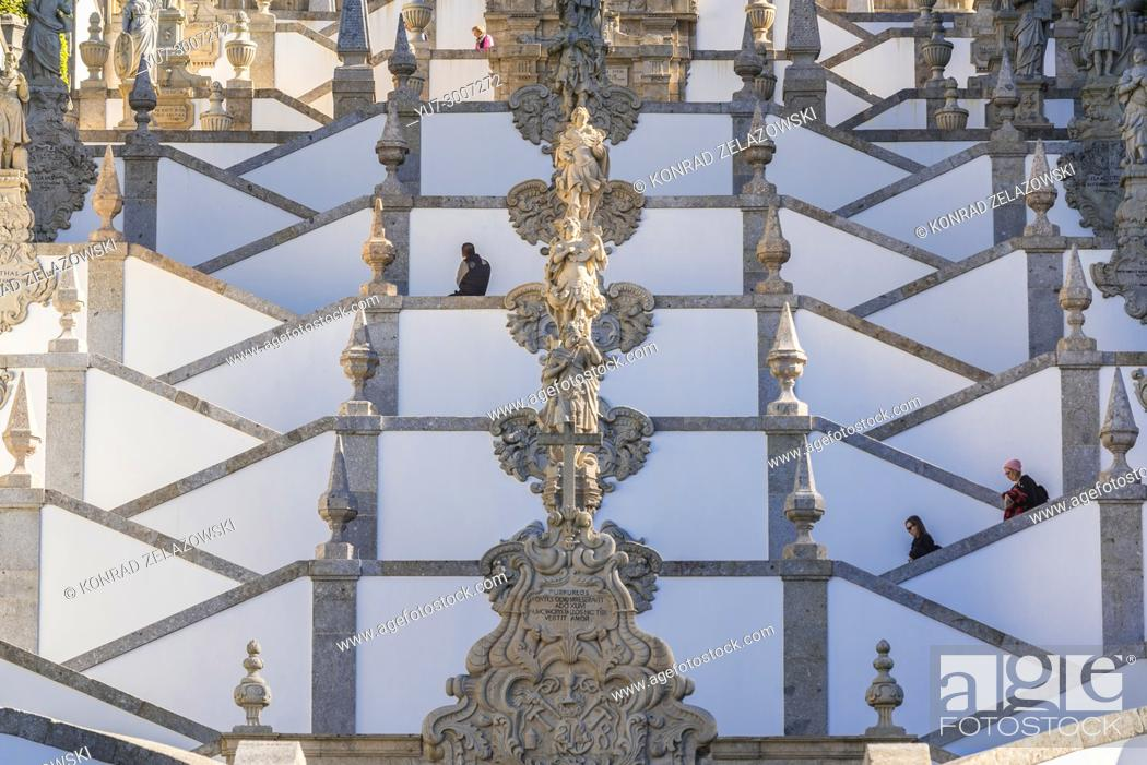 Stock Photo: Zigzag shape stairs dedicated to five sences in Bom Jesus do Monte (Good Jesus of the Mount) sanctuary in Tenoes, outside city of Braga, Portugal.