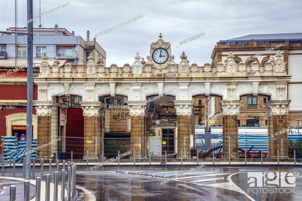 Stock Photo: Entrance to Donostia San Sebastian railway station in San Sebastian coastal city located in the Basque Autonomous Community, Spain.