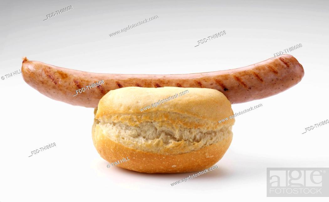 Photo de stock: Bratwurst in a roll.
