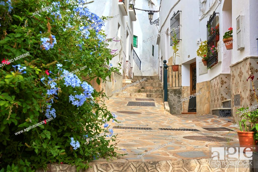 Stock Photo: Competa. Axarquia, Traditional white town, Malaga province, Andalucia, Spain.
