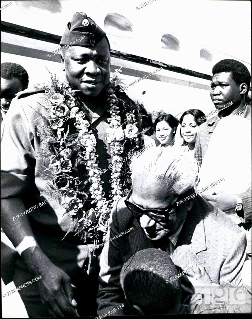 Jul  07, 1976 - OAU Conference Mauritius: President Idi Amin