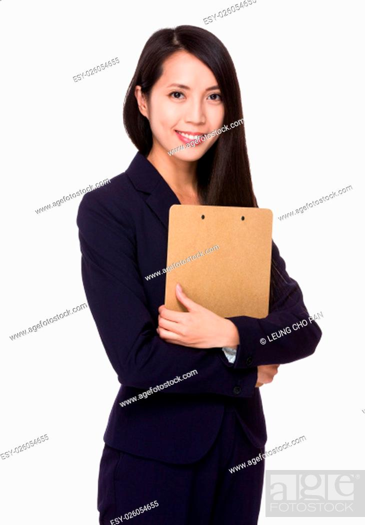 Stock Photo: Businesswoman hold with file board.