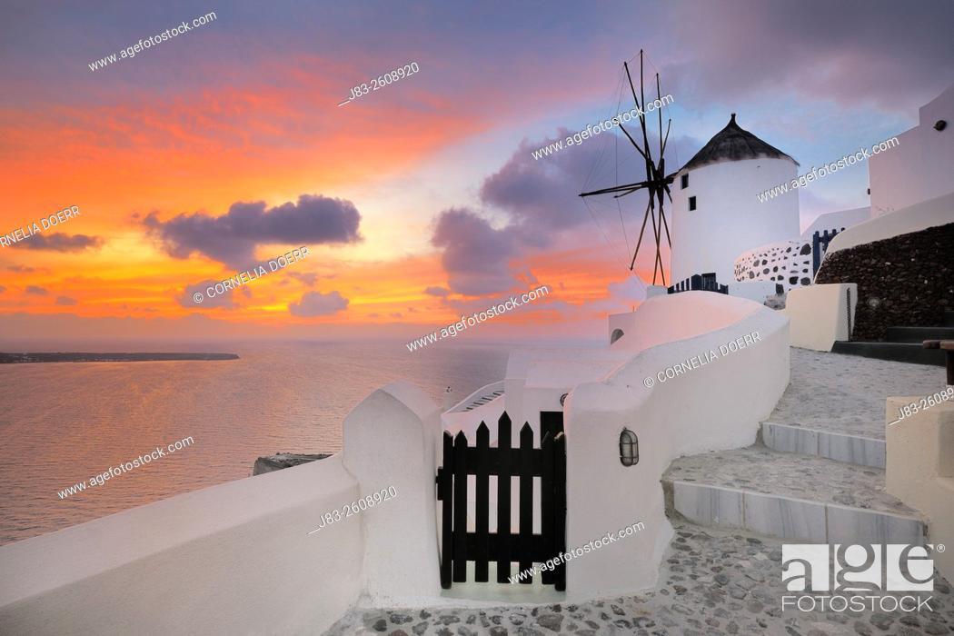 Stock Photo: Traditional Greek windmill of Santorini at sunset, Oia Village, Santorini, Aegean Island, Cyclades Islands, Greek Islands, Greece, Europe.