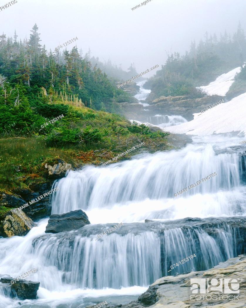 Stock Photo: Lunch Creek Falls Glacier National.
