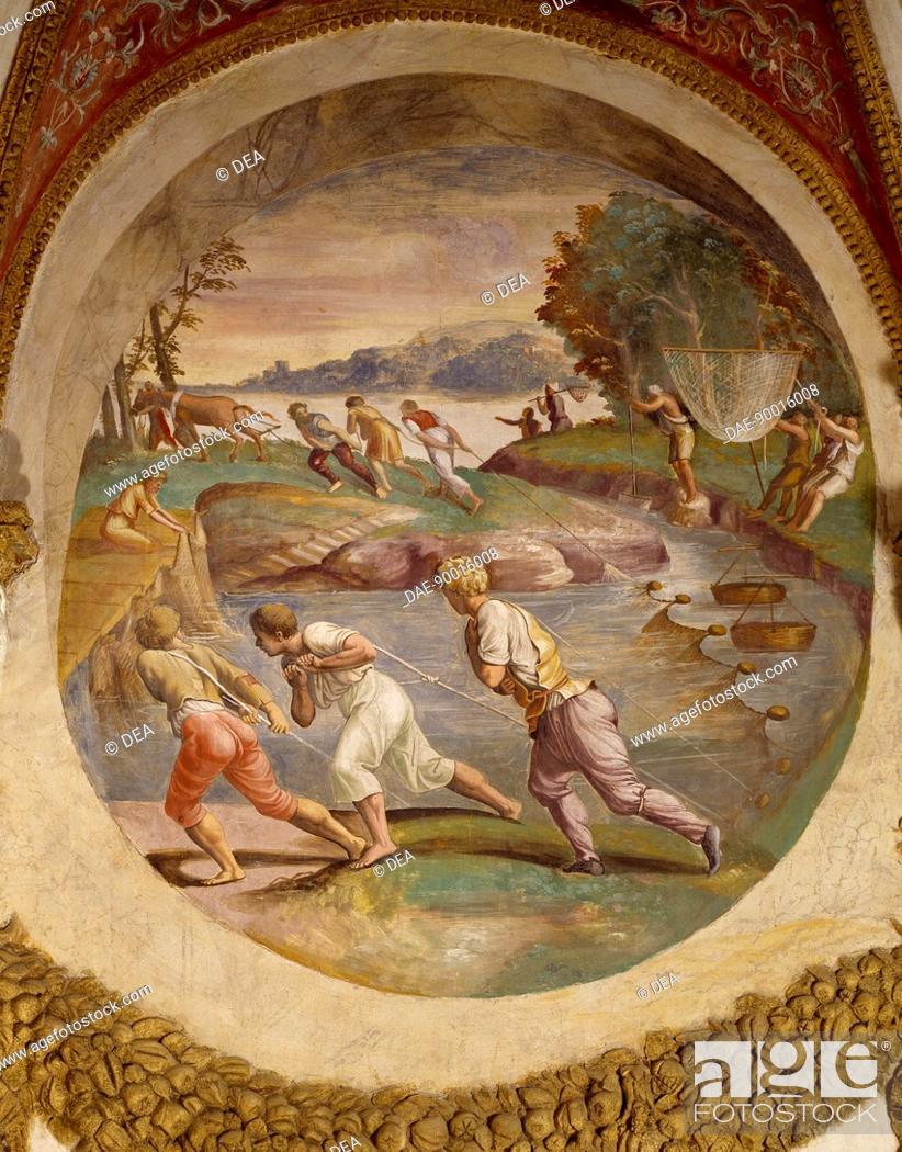 Stock Photo: Net fishing in the river, fresco by Giulio Romano (1499-1546), Hall of the medallions, Palazzo Te, Mantua (UNESCO World Heritage List, 2008).