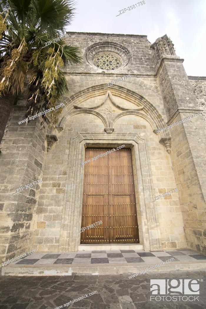 Stock Photo: Vejer de la Frontera white village in Cadiz province , Andalusia, Spain. Church of Divino Salvador.