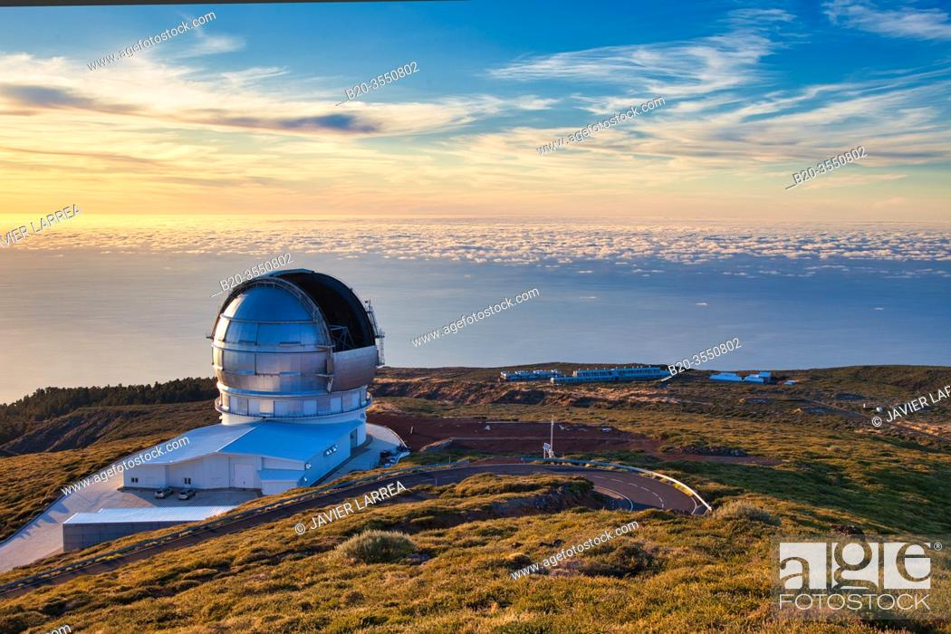 Stock Photo: The Gran Telescopio CANARIAS (GTC), Roque de los Muchachos Observatory, Caldera de Taburiente National Park, La Palma, Canary Islands, Spain.