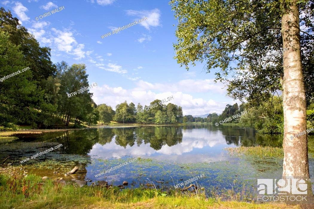 Stock Photo: Lake trees landscape Scotland tranquil picturesque.