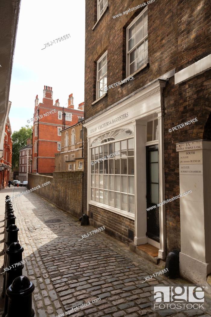 Stock Photo: Middle Temple Lane off Fleet Street in London.