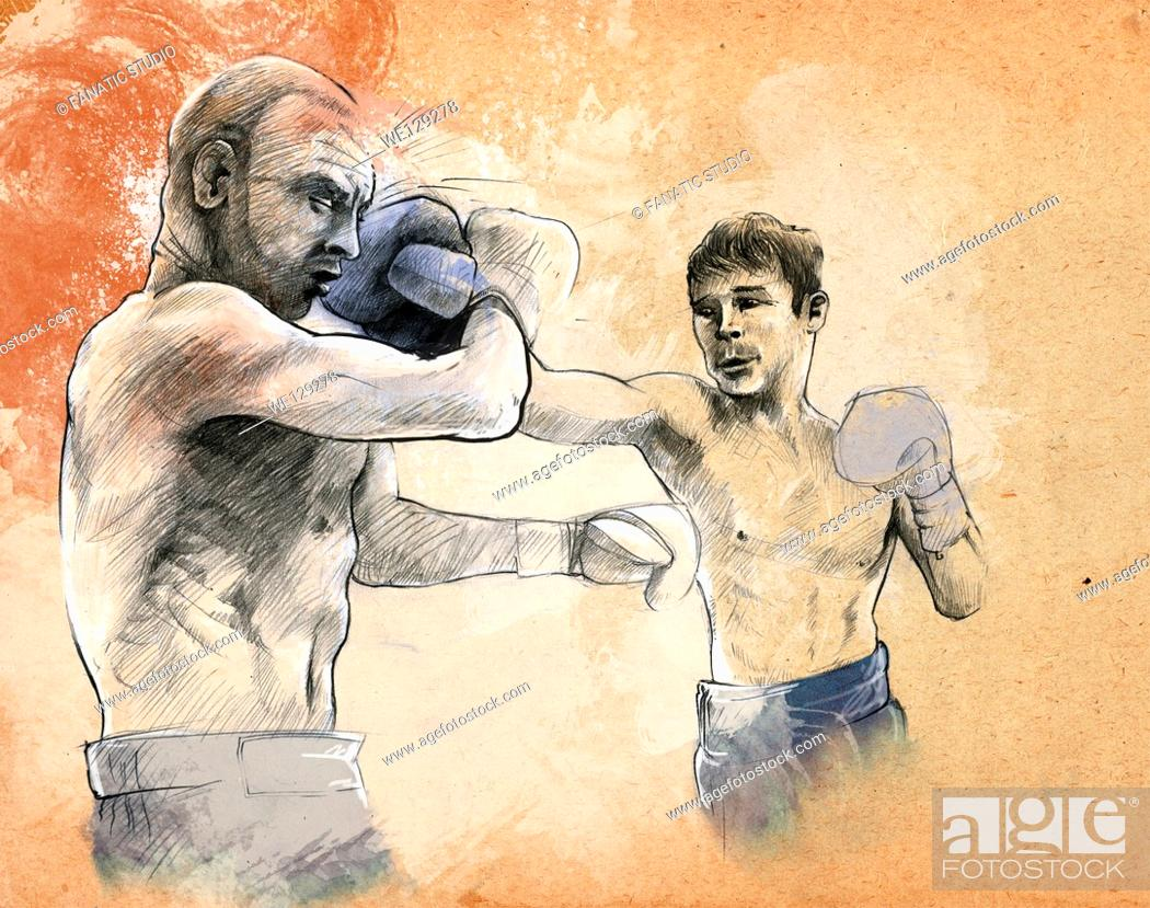 Stock Photo: Illustrative image of two boxers fighting.