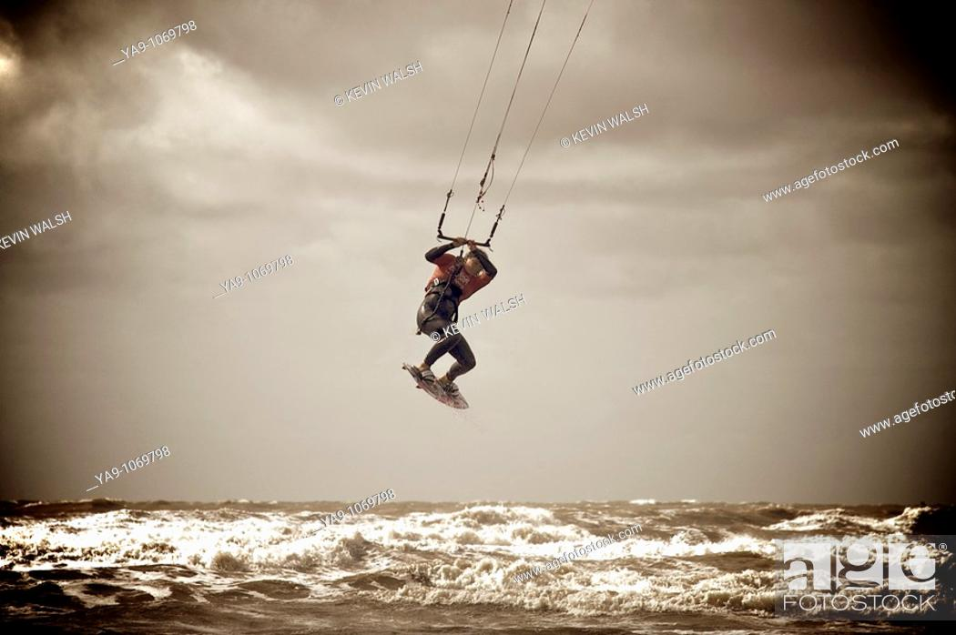 Stock Photo: British kite surfing championships held on Blackpool beach,Lancashire,England.