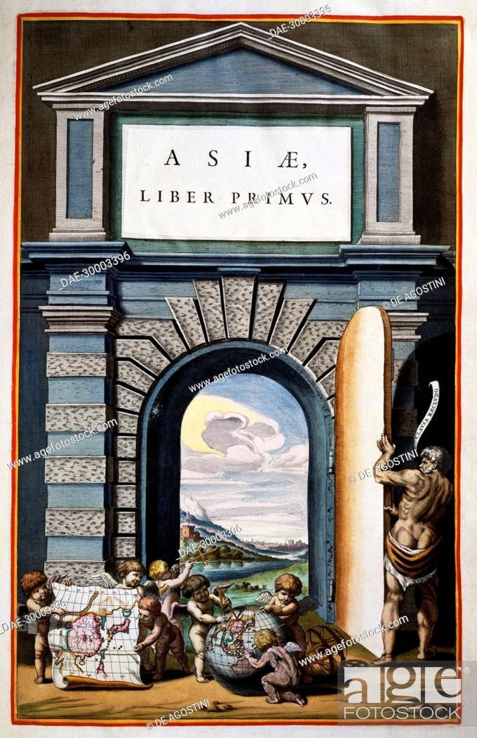 Imagen: Asiae, Book I, title page of Volume IX, from Atlas Maior, atlas in 11 volumes, by Joan Blaeu (1596-1673), copper engraving, 57.