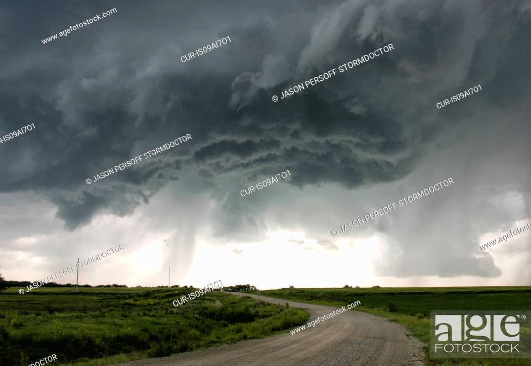 Stock Photo: A turbulent updraft base underneath a powerful supercell offers a striking cloudscape, Hebron, Nebraska, USA.