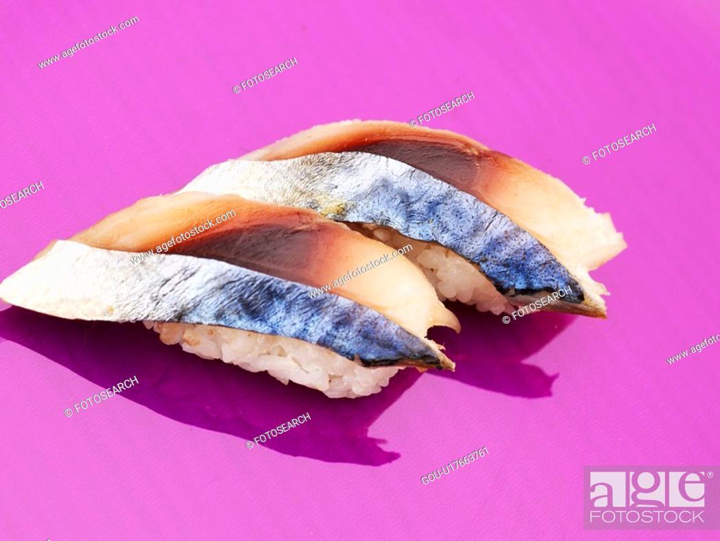Stock Photo: food, plate, mackerel sushi, decoration, food styling, cuisine, sushi plate.
