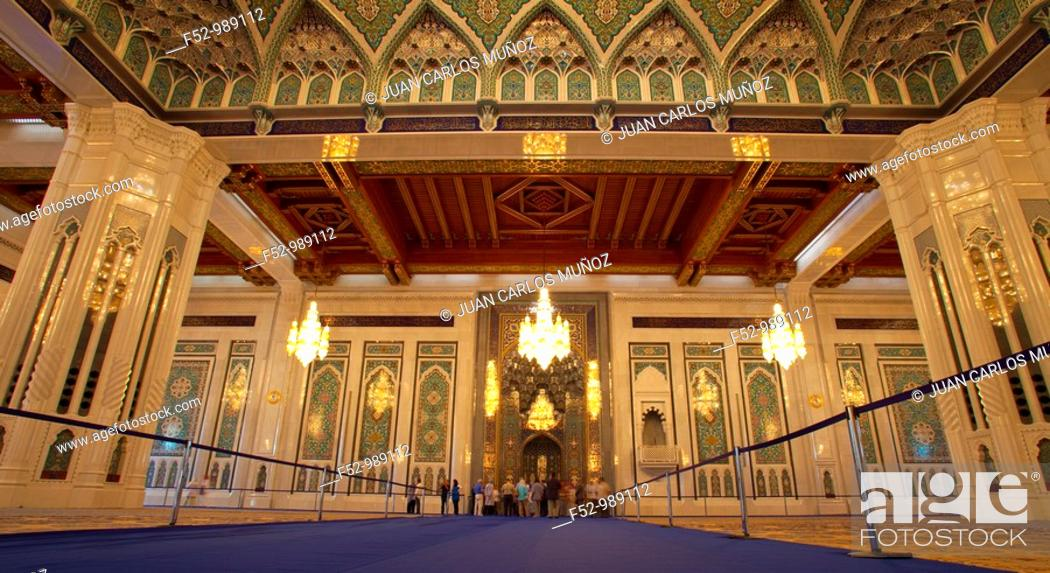Stock Photo: Sultan Qaboos Grand Mosque. Muscat. Oman. Persian Gulf. Arabia, Middle East.