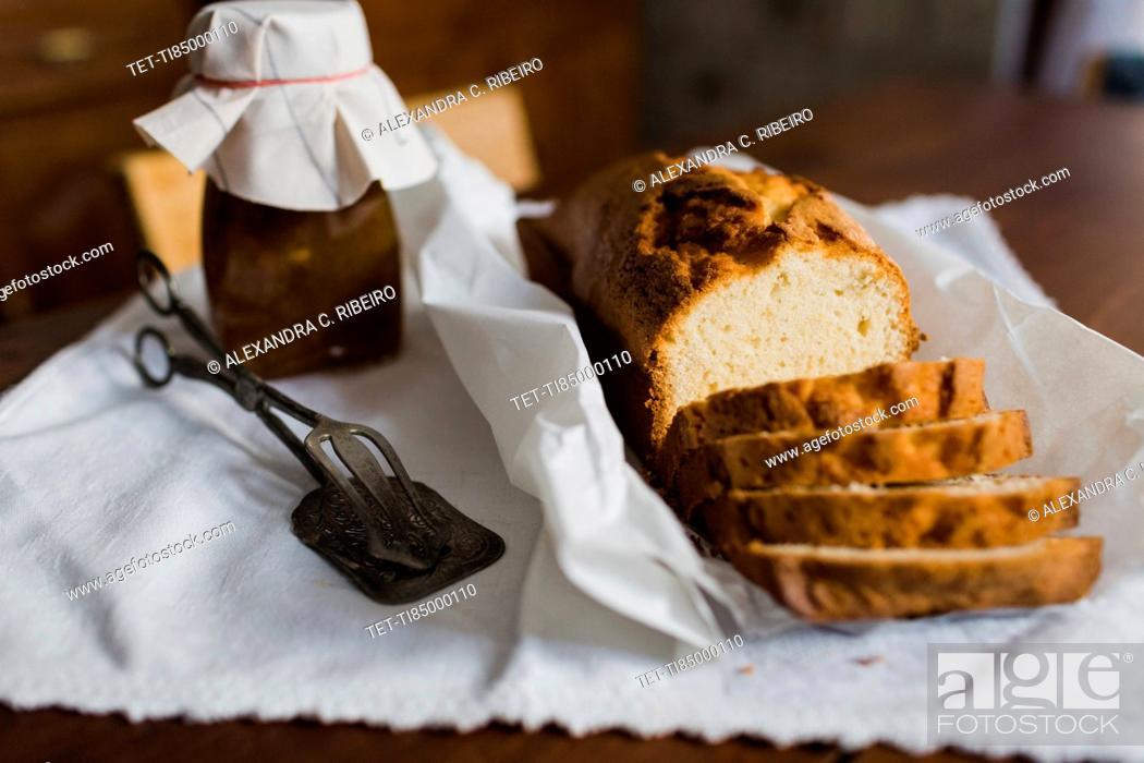 Stock Photo: Sliced loaf cake.