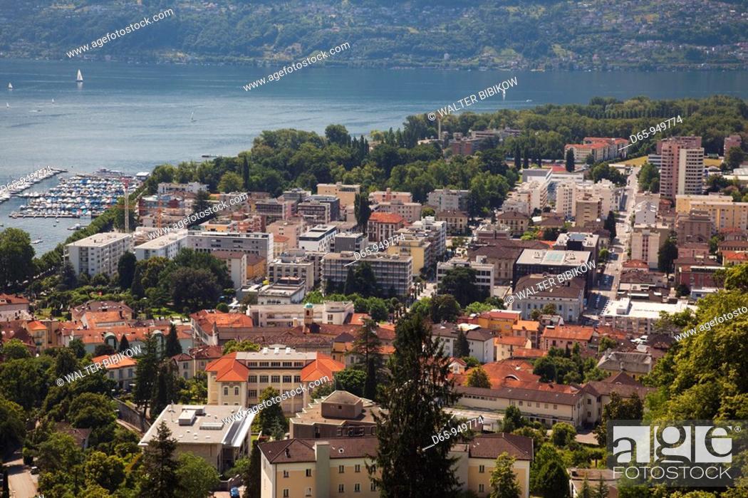 Stock Photo: Switzerland, Ticino, Lake Maggiore, Locarno, high angle town view.