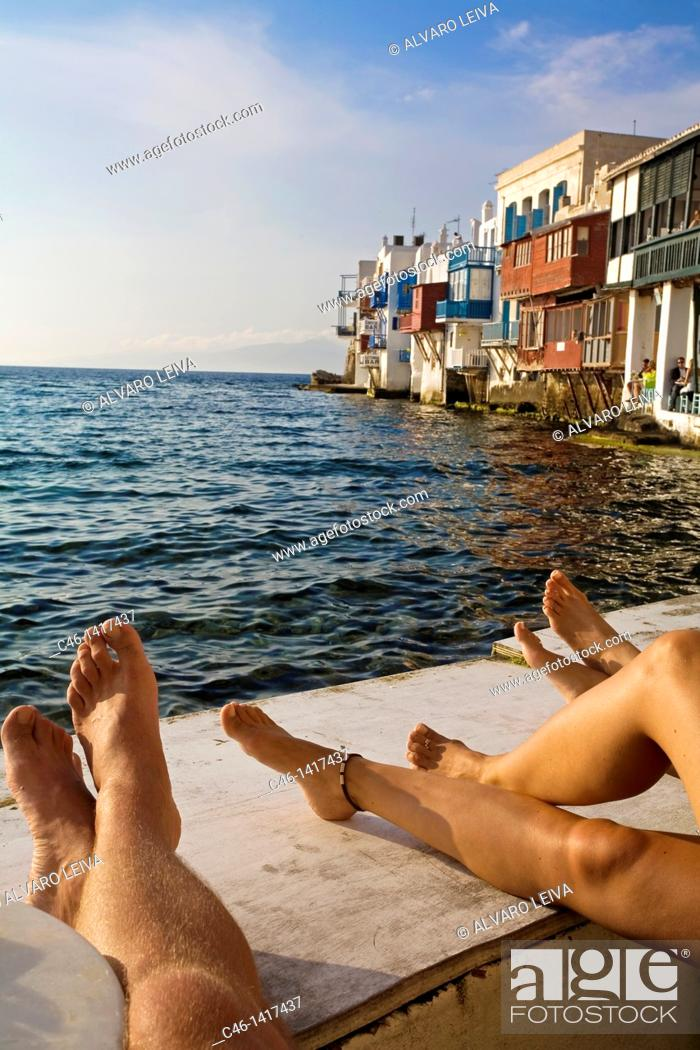 Stock Photo: Quarter of Alefkandra, Little Venice, Mykonos, Cyclades Islands, Greece.