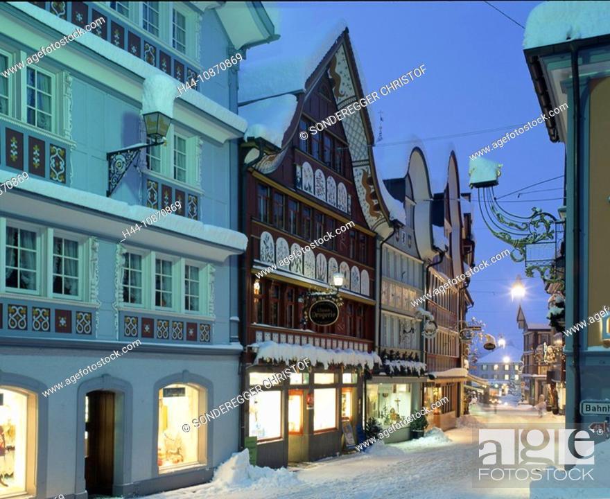 Switzerland Appenzell Old Town Winter Snow Evening
