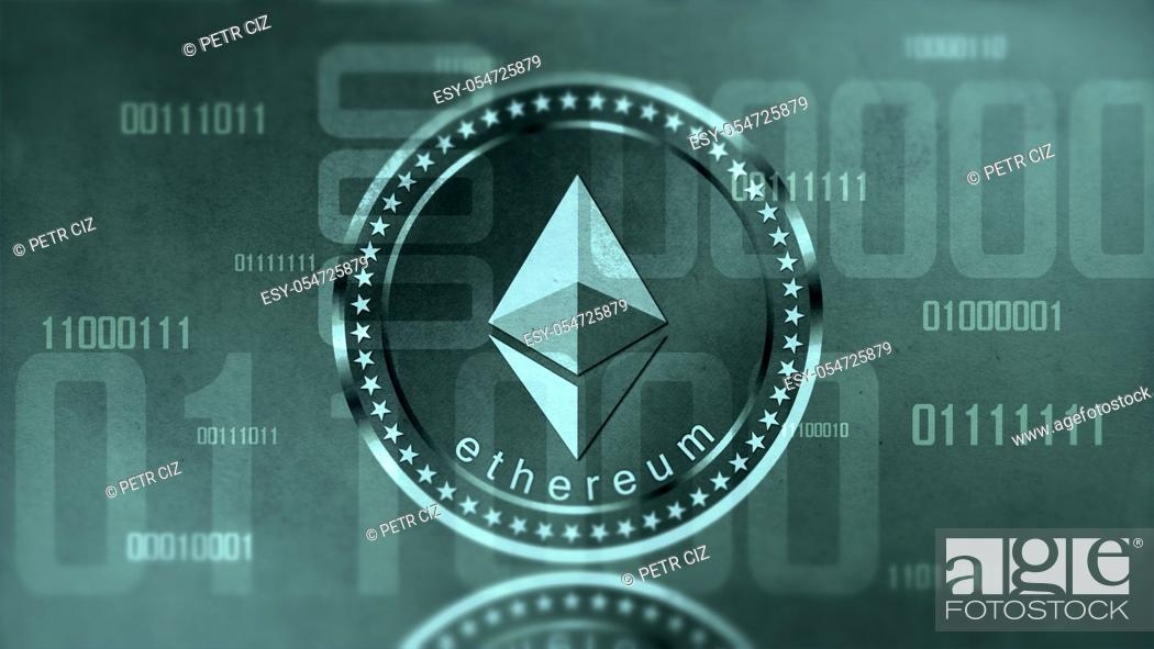 Stock Photo: Virtual cryptocurrency Ethereum sign in digital cyberspace.