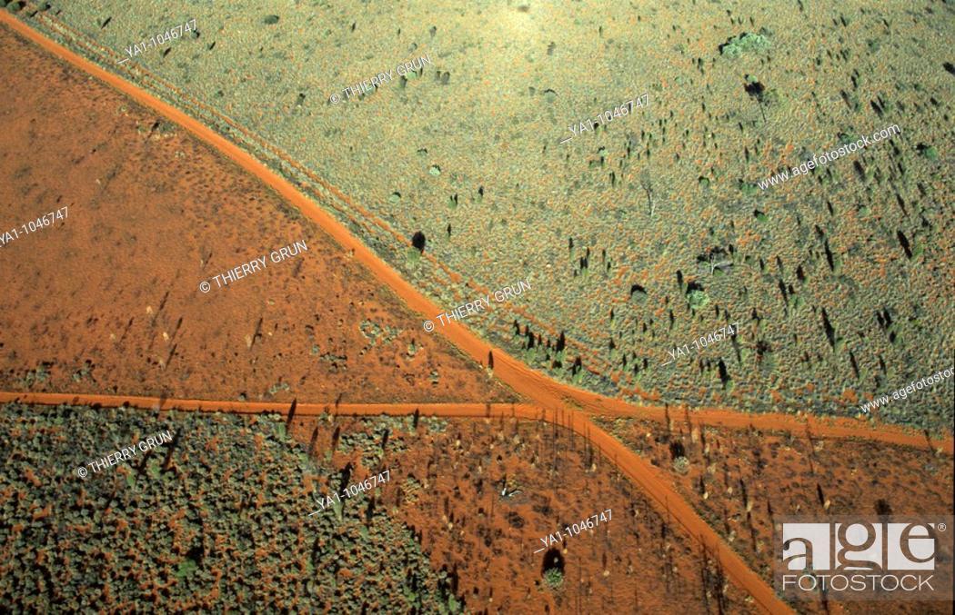 Stock Photo: Aerial view of junction tracks near Ayers Rock, Uluru Kata Tjuta National park, Northern Territory, Australia.