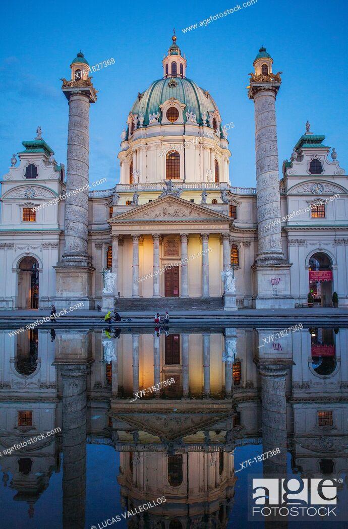 Stock Photo: St  Charles Church or Karlskirche, Vienna, Austria, Europe.