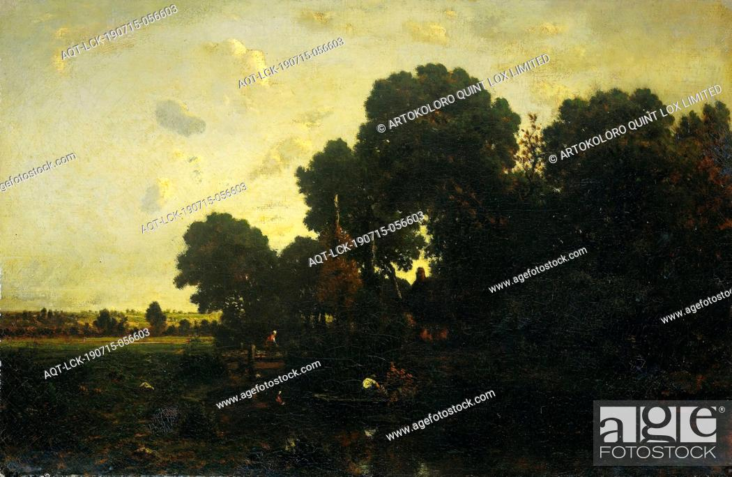 Stock Photo: Evening twilight, Evening twilight. A group of trees around a house on the side of a pond, on the water a man rowing in a boat.