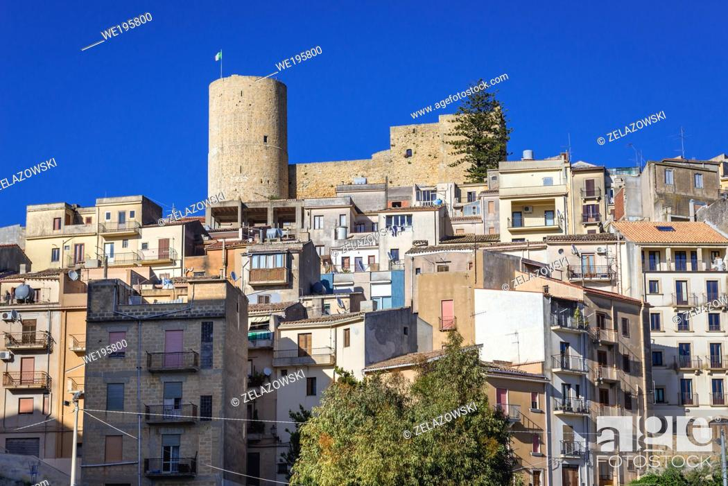 Stock Photo: Salemi town located in the province of Trapani in southwestern Sicily, Italy, view with tower and walls of Norman Castle.