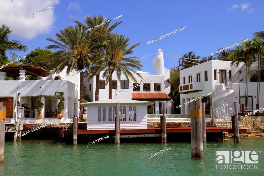 Stock Photo: Florida, Miami Beach, Biscayne Bay, Hibiscus Island, 24 South Hibiscus Drive, waterfront home, mansion, celebrity,.