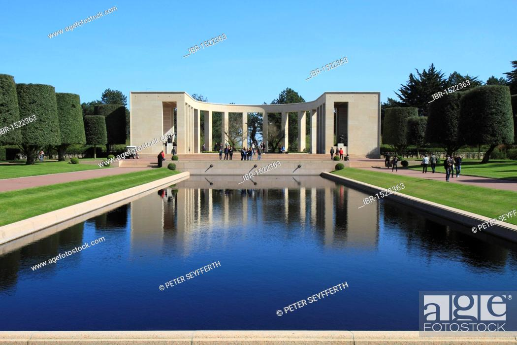 Stock Photo: Normandy American Cemetery and Memorial above Omaha Beach, site of the landing of the Allied invasion forces on D-Day 6 June 1944, Second World War, Calvados.