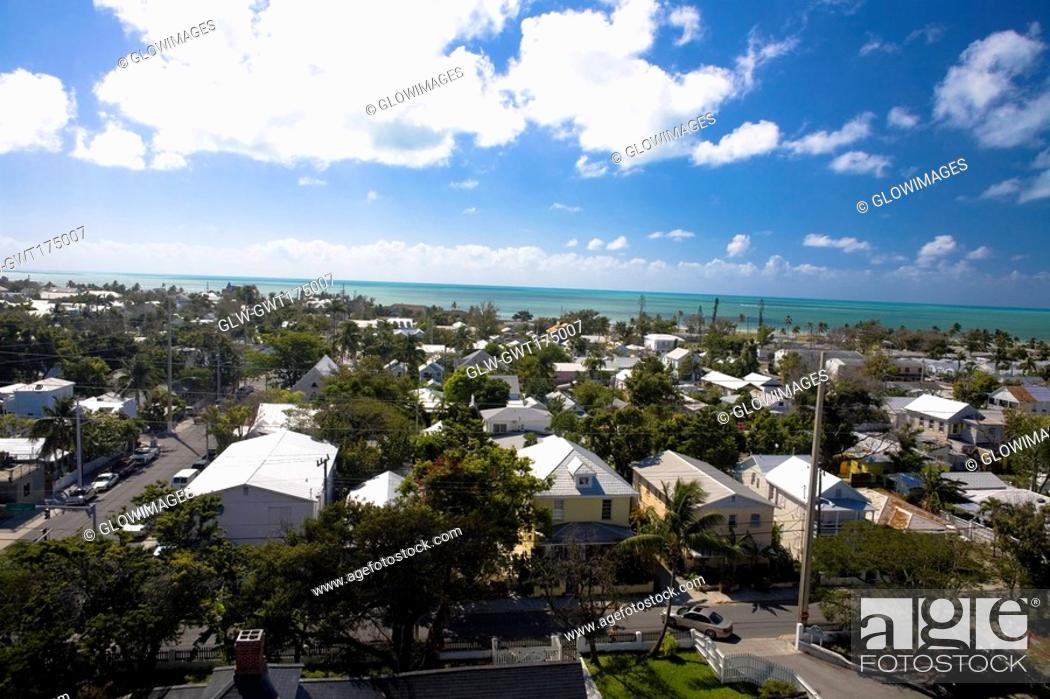 Stock Photo: High angle view of buildings in a city, Key West, Florida, USA.