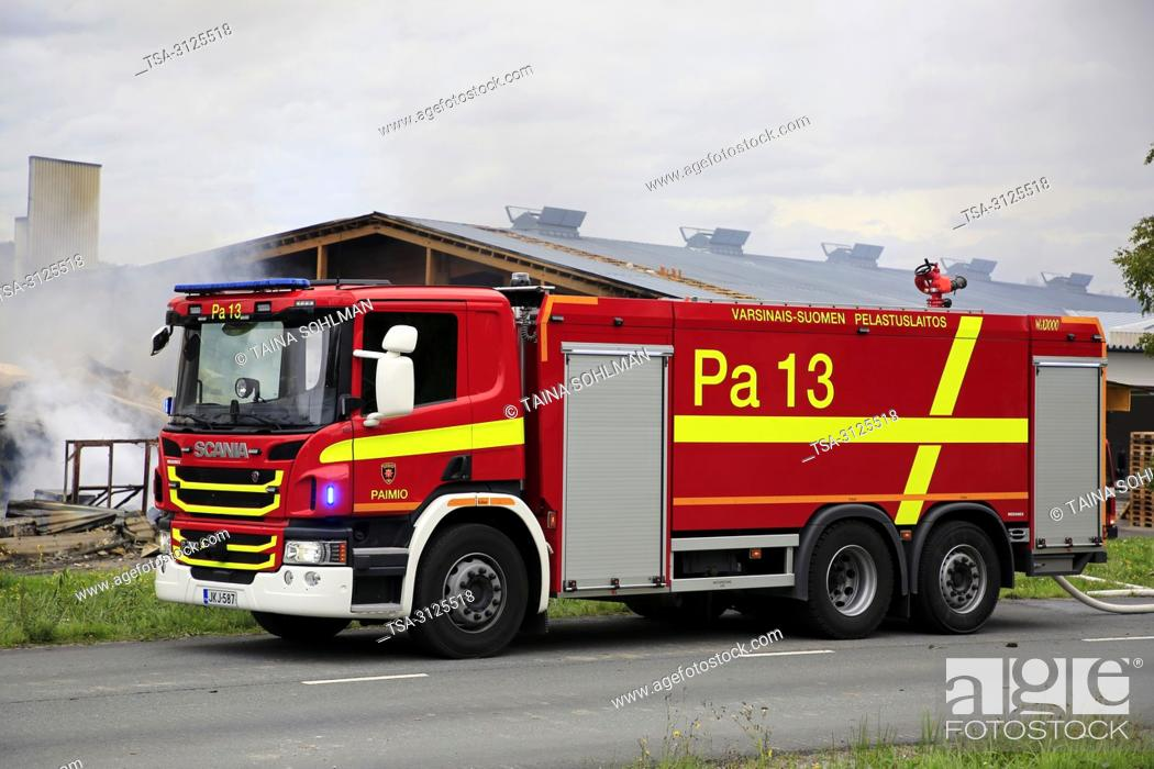 Stock Photo: Salo, Finland. September 14, 2018. Fire destroys 5, 000 square meters of production and office spaces of Finnish Candle manufacturer Kynttila-Tuote Oy.