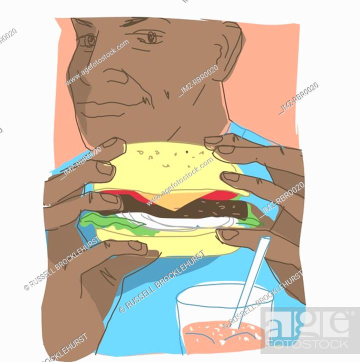 Stock Photo: man eating a hamburger.