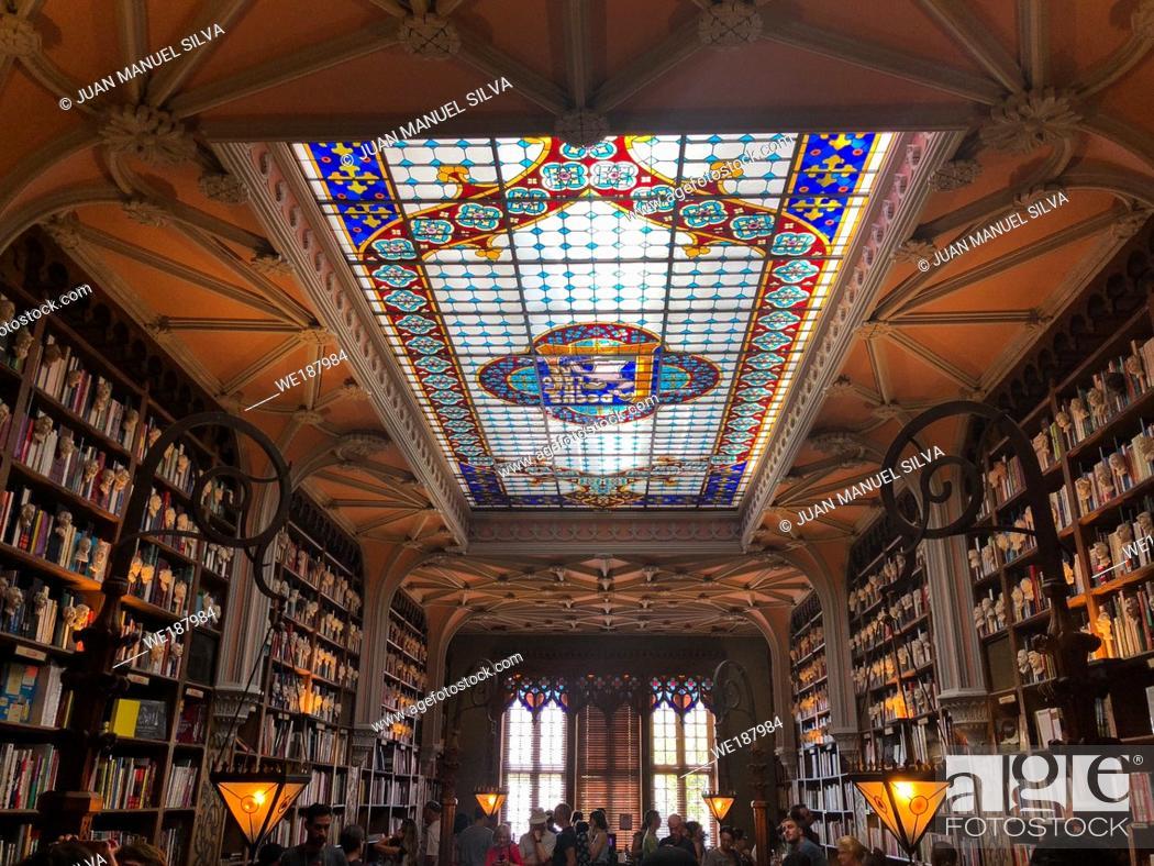 Stock Photo: Interior of Lello Bookstore in Porto, Portugal.