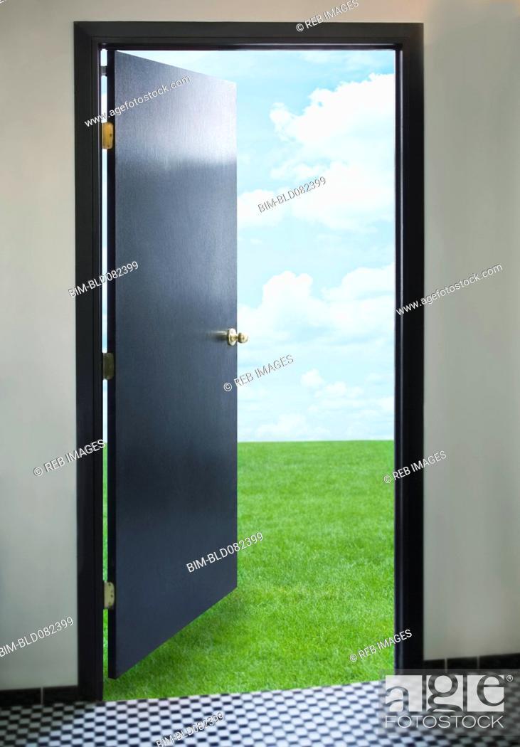 Stock Photo: Door opening onto green lawn.