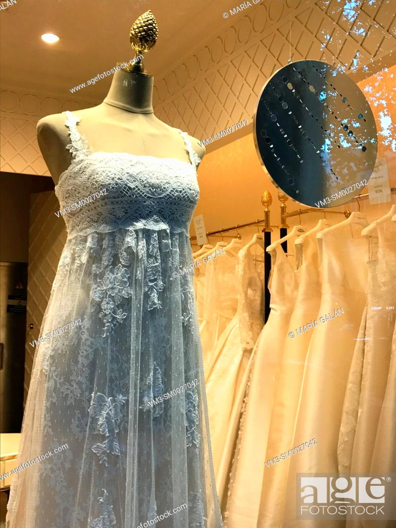 Stock Photo: Wedding dress in a shop window. Madrid, Spain.