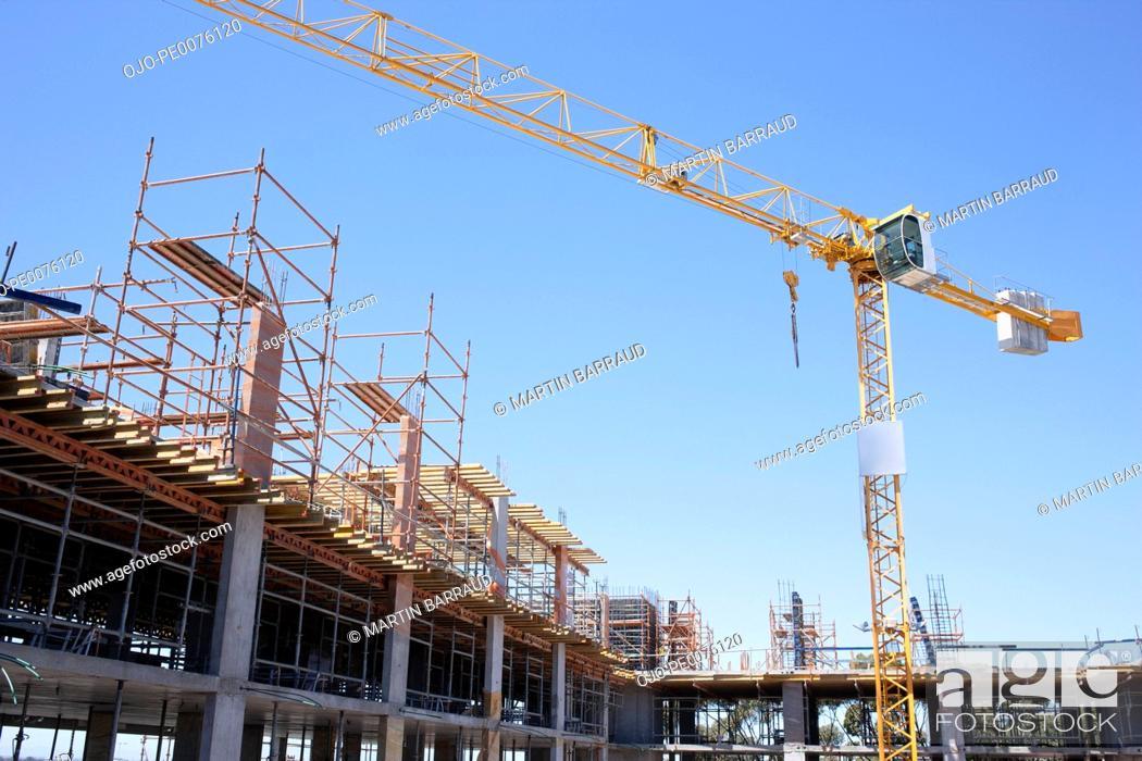 Stock Photo: Crane on construction site.