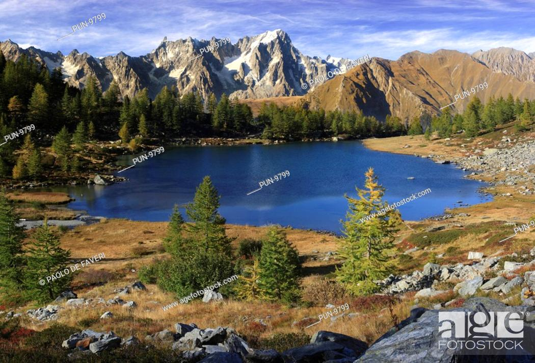 Stock Photo: The Arpy Lake is a glacial lake placed at the center of a beautiful plateau at more than 2000 meters of altitude in Valdigne.