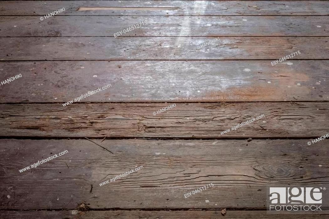 Stock Photo: old wooden floor / floorboards in old apartment room - construction concept -.