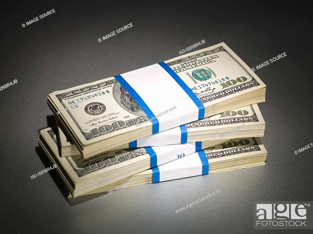 Stock Photo: Stack of one hundred dollar bills.