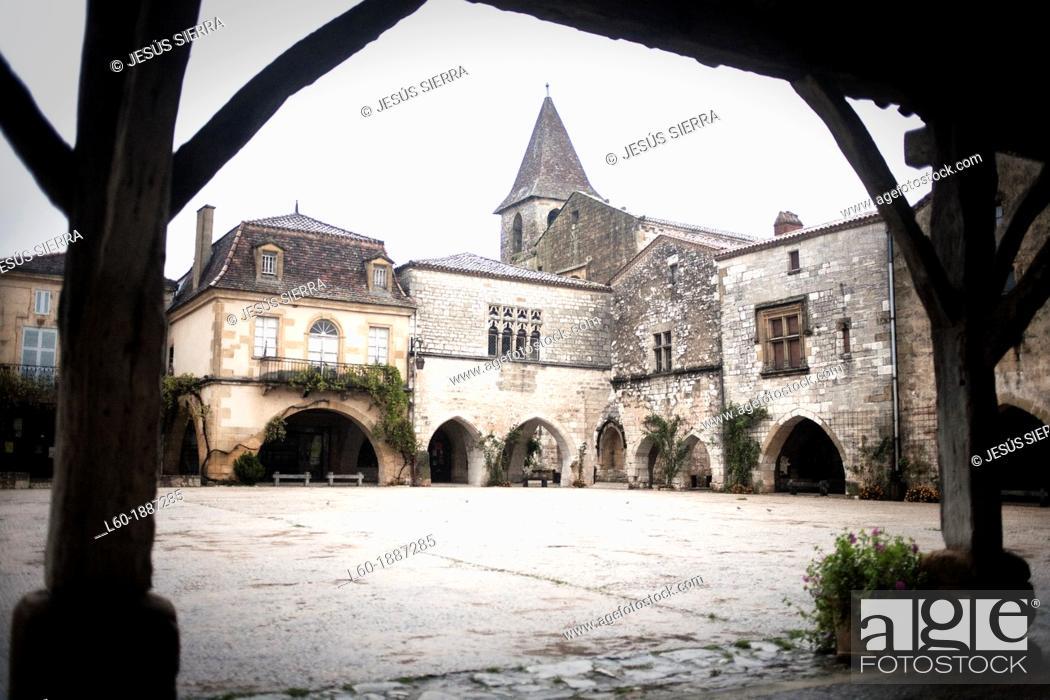 Stock Photo: Monpazier, labelled Les Plus Beaux Villages de France The Most Beautiful Villages of France, Place des Cornieres in the Bastide Medieval fortified village.