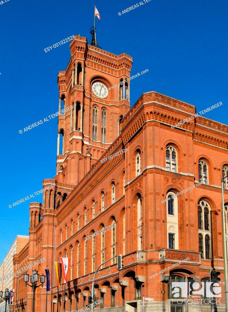 Stock Photo: Red Town Hall Berlin.